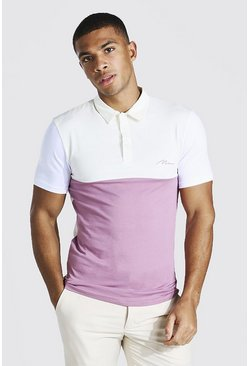 Mauve Man Signature Muscle Fit Colour Block Polo