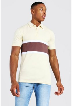 Sand Muscle Fit Colour Block Polo