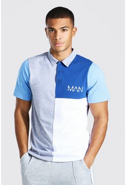 Grey marl Original Man Colour Block Polo