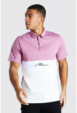 Mauve Man Signature Colour Block Polo