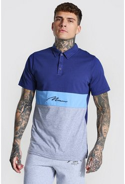 Navy Man Signature Colour Block Polo