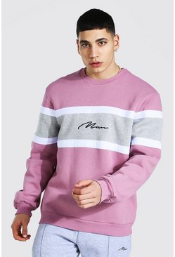 Mauve Man Signature Colour Block Sweatshirt