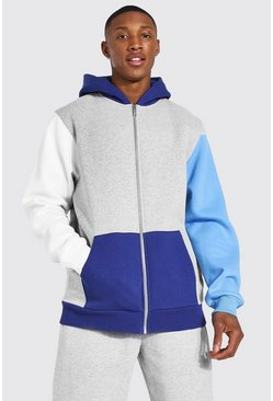 Navy Zip Through Colour Block Hoodie
