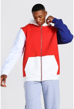 Red Zip Through Colour Block Hoodie