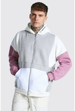 Grey marl Oversized Man Zip Through Colour Block Hoodie