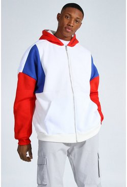 Red Oversized Man Zip Through Colour Block Hoodie