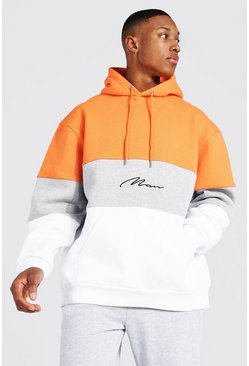 Sweat à capuche oversize color block - MAN, Orange