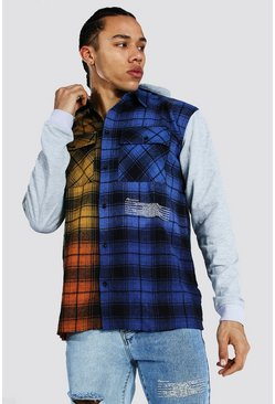 Blue Tall Spliced Check Shirt With Hoodie Layer