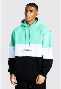 Jade Oversized Man Signature Colour Block Hoodie