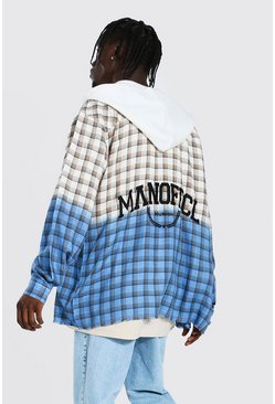 Ecru Oversized Hooded Back Print Ombre Check Shirt