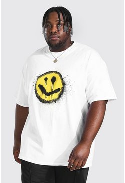 White Plus Size Graffiti Print T-shirt