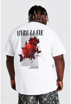 White Plus Size Floral Back Print T-shirt