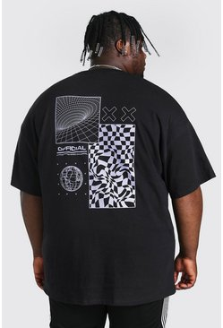 Black Plus Size Geo Tech Back Print T-shirt