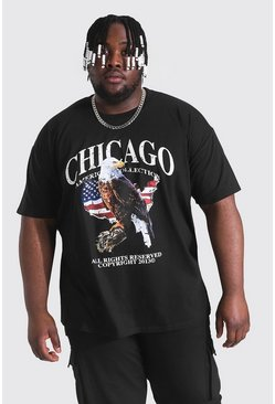 Black Plus Size Chicago Eagle Print T-shirt