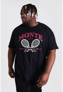 Black Plus Size Monte Tennis Print T-shirt