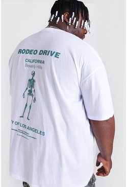 White Plus Size Rodeo Skeleton Back Print T-shirt