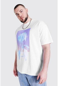 White Plus Size Chrome Rose Print T-shirt