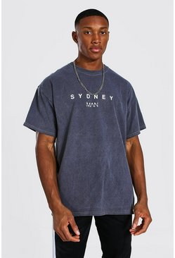 Charcoal Oversized Overdyed Sydney Print T-shirt