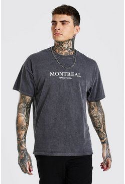 Charcoal Oversized Overdyed Montreal Print T-shirt
