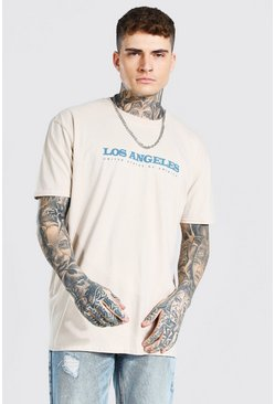 Sand Oversized Los Angeles Print T-shirt