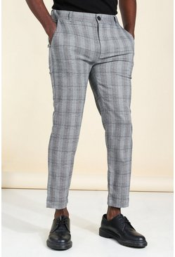 Grey Super Skinny Check Smart Trouser