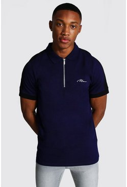 Navy Man Signature 1/4 Zip Polo With Side Panel
