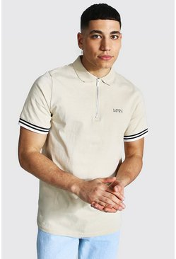 Stone Original Man Ribbed Cuffed Zip Polo