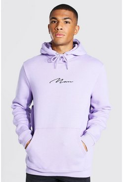 Pale lilac Man Signature Embroidered Hoodie
