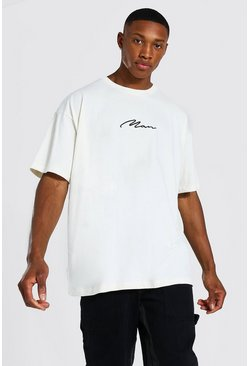 Ecru Oversized Man Signature T-shirt