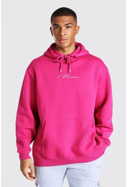 Pink Oversized Man Signature Oth Hoodie