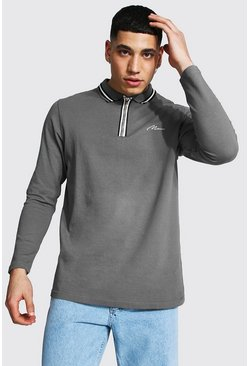 Slate Man Signature Long Sleeve Zip Detail Polo