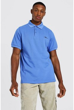 Cornflower Man Signature Pique Polo