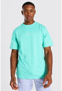 Man Signature Embroidered T-shirt, Jade