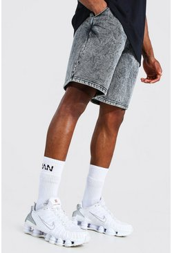 Black Mid Length Loose Acid Wash Jersey Shorts