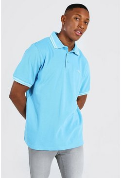 Bright blue Man Signature Tipped Pique Polo