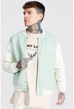 Mint Melton Bomber With Faux Leather Sleeves