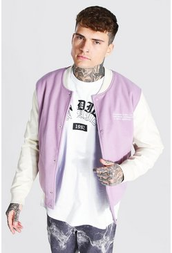 Lilac Melton Bomber With Leather Look Sleeves
