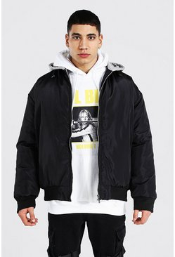 Black Oversized Ma1 Bomber With Jersey Hood