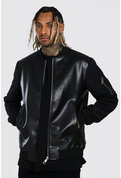 Black Faux Leather Body Bomber