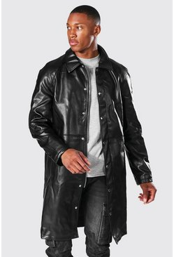 Leather Look Single Breasted Zip Fast Mac, Black