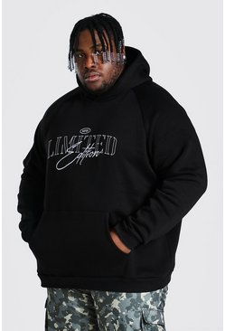Black Plus Size Heavyweight Embroidered Hoodie