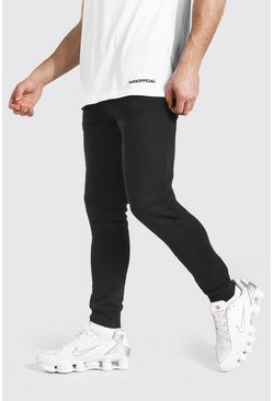 Black Skinny Fit Jogger With Man Drawcords