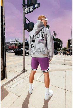 Grey marl Oversized Official Man Graffiti Print Hoodie