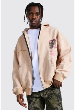 Sand Oversized Man Printed Zip Through Hoodie