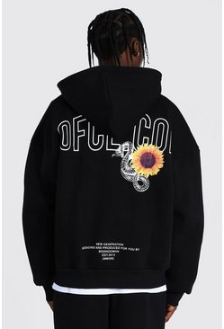 Black Oversized Man Printed Zip Through Hoodie
