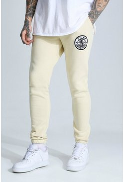 Sand Man Embroidered Badge Skinny Joggers