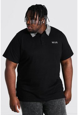 Black Plus Size Roman Man Jacquard Collar Polo