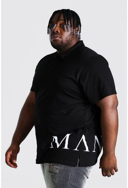 Black Plus Size Roman Man Side Print Polo