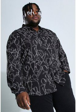 Black Plus Size Long Sleeve Floral Print Shirt