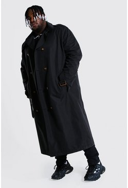 Black Plus Size Longline Double Breasted Mac